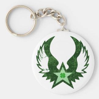 four leaf clover. winged star. keychain