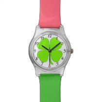 Four leaf clover wrist watch