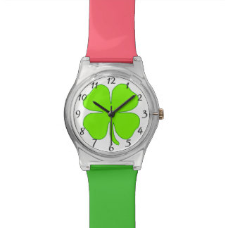 Four leaf clover wrist watch