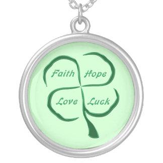 Four Leaf CloverDARK Round Pendant Necklace
