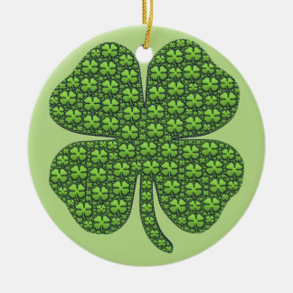 Four Leaf Clovers Ceramic Ornament