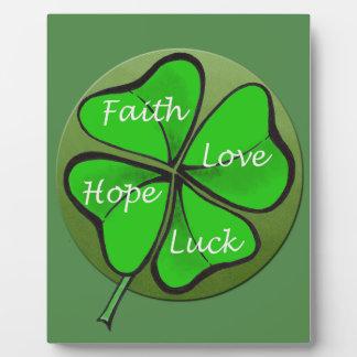 Four-Leaf Clovers-Faith Love Hope Luck - Bible Display Plaque