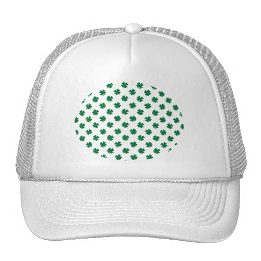 Four leaf clovers in green hat