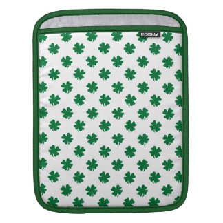 Four leaf clovers in green iPad sleeve