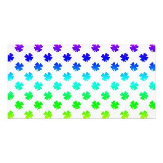 Four leaf clovers in rainbow customized photo card