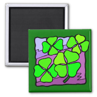 Four Leaf Clovers 2 Inch Square Magnet