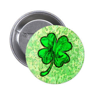 FOUR LEAF CLOVERS PINBACK BUTTON