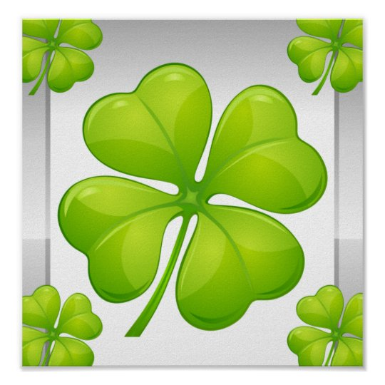 Four-leaf clovers poster