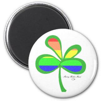 Four Leaf Rainbow Clover 2 Fridge Magnets