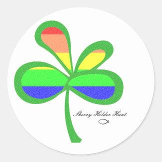 Four Leaf Rainbow Clover 2 Round Stickers