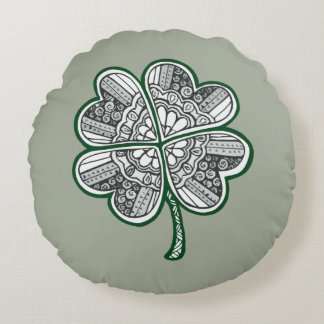 Four Leave Clover 1 Round Pillow