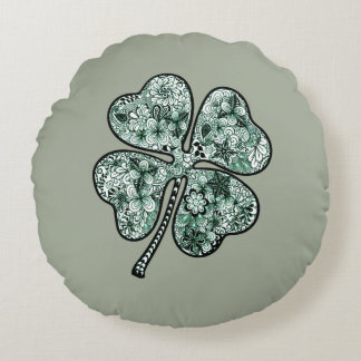 Four Leave Clover 2 Round Pillow