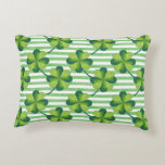 Four Leaves Clover St. Patrick's Day Pattern Decorative Pillow