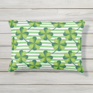 Four Leaves Clover St. Patrick's Day Pattern Outdoor Pillow