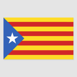 "FOUR ""L'Estelada Blava"" Catalan Independence Flag Rectangular Sticker"