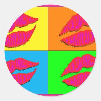 Four Lips Classic Round Sticker