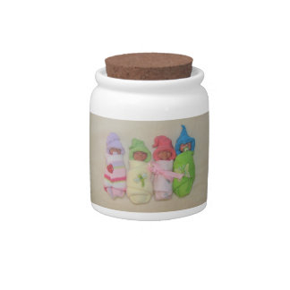 Four Little Babies: Polymer Clay Sculptures Candy Jars