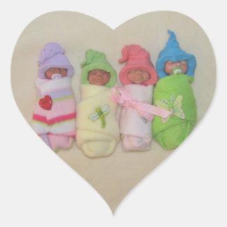 Four Little Babies: Polymer Clay Sculptures Heart Sticker