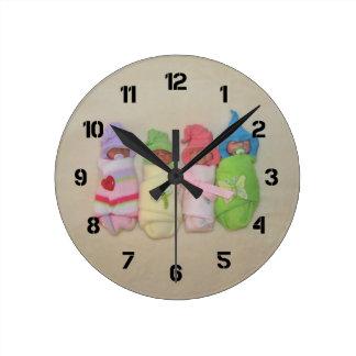Four Little Babies: Polymer Clay Sculptures Round Clock