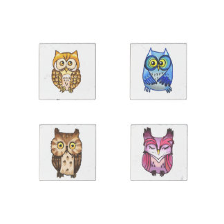 Four little colorful owls stone magnet