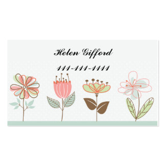 Four Little Flowers Contact Card Business Card