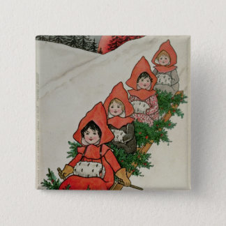 Four Little Girls on a Sledge Button