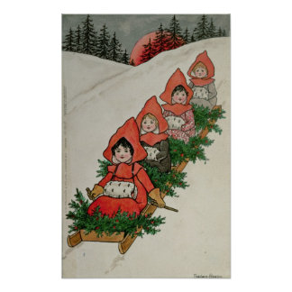 Four Little Girls on a Sledge Poster