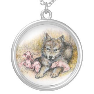 FOUR LITTLE PIGGIES SILVER PLATED NECKLACE