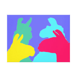 Four Llamas in Four Llama Colors - A Bold Graphic Canvas Print