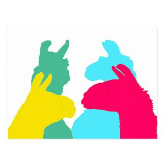 Four Llamas in Four Llama Colors - A Bold Graphic Postcard