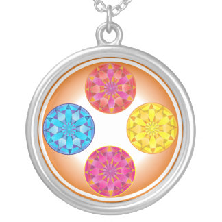 four mandalas silver plated necklace