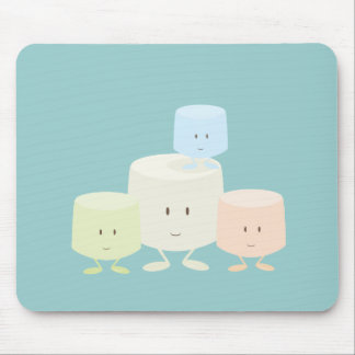 Four marshmallows smiling together mouse pad