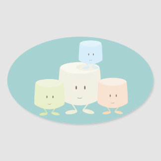 Four marshmallows smiling together oval sticker