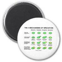 Four Mechanisms Of Speciation (Evolution) 2 Inch Round Magnet