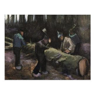 Four Men Cutting Wood, Van Gogh Fine Art Postcard