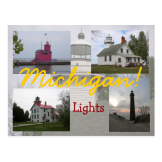 Four Michigan Lighthouses postcards