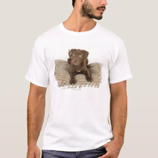 Four-Month-Old Chocolate Lab Puppy on Pillow T-Shirt
