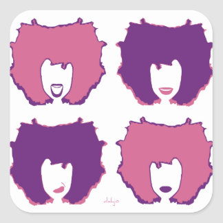 FOUR MOODS in PINK and PURPLE Square Sticker