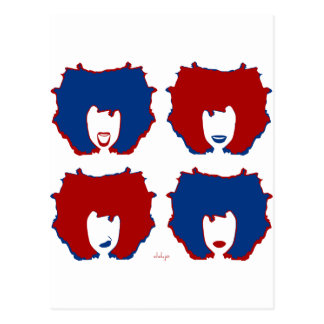 FOUR MOODS in RED and BLUE Postcard