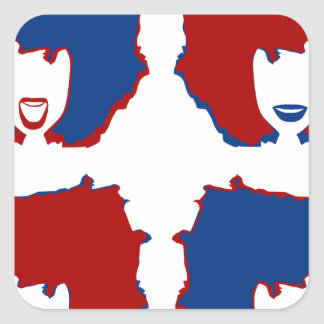FOUR MOODS in RED and BLUE Square Sticker