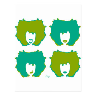 FOUR MOODS in TEAL and GREEN Postcard