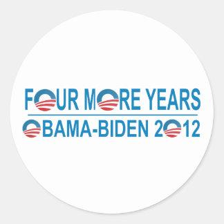 Four More Years - Obama-Biden 2012 Round Stickers