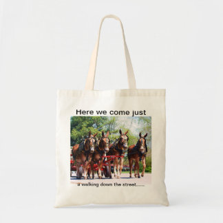 Four mules walking abreast tote bag