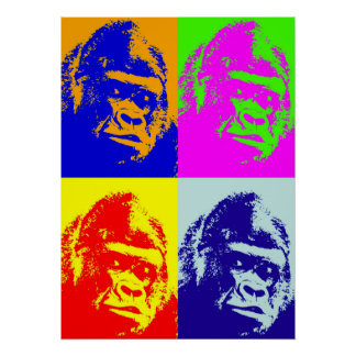 Four Multicolor Gorilla Pop Art Poster