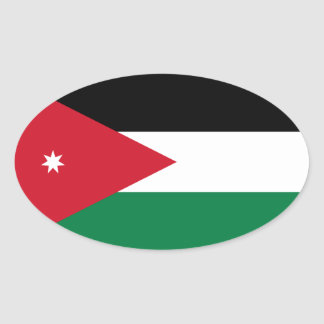 FOUR National Flag of Jordan Oval Sticker