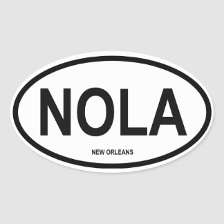 """FOUR New Orleans """"NOLA"""" Oval Sticker"""