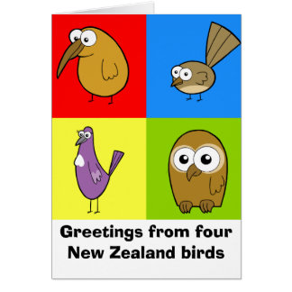 Four New Zealand Birds, Greetings from four New... Card