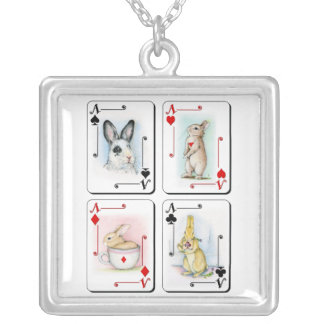 Four of a Kind Square Pendant Necklace