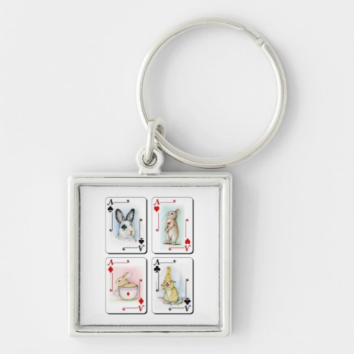 Four of a Kind Silver-Colored Square Keychain