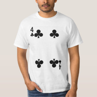 Four of Clubs Playing Card T-Shirt